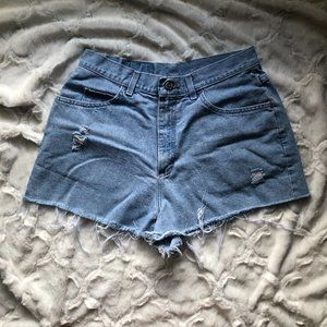 Riders Distressed High-Waisted Shorts Light Wash
